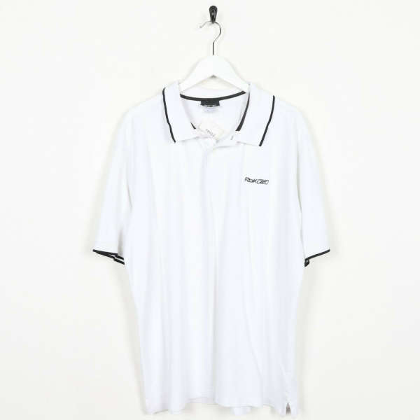 Vintage REEBOK Small Logo Polo Shirt Top White | XL