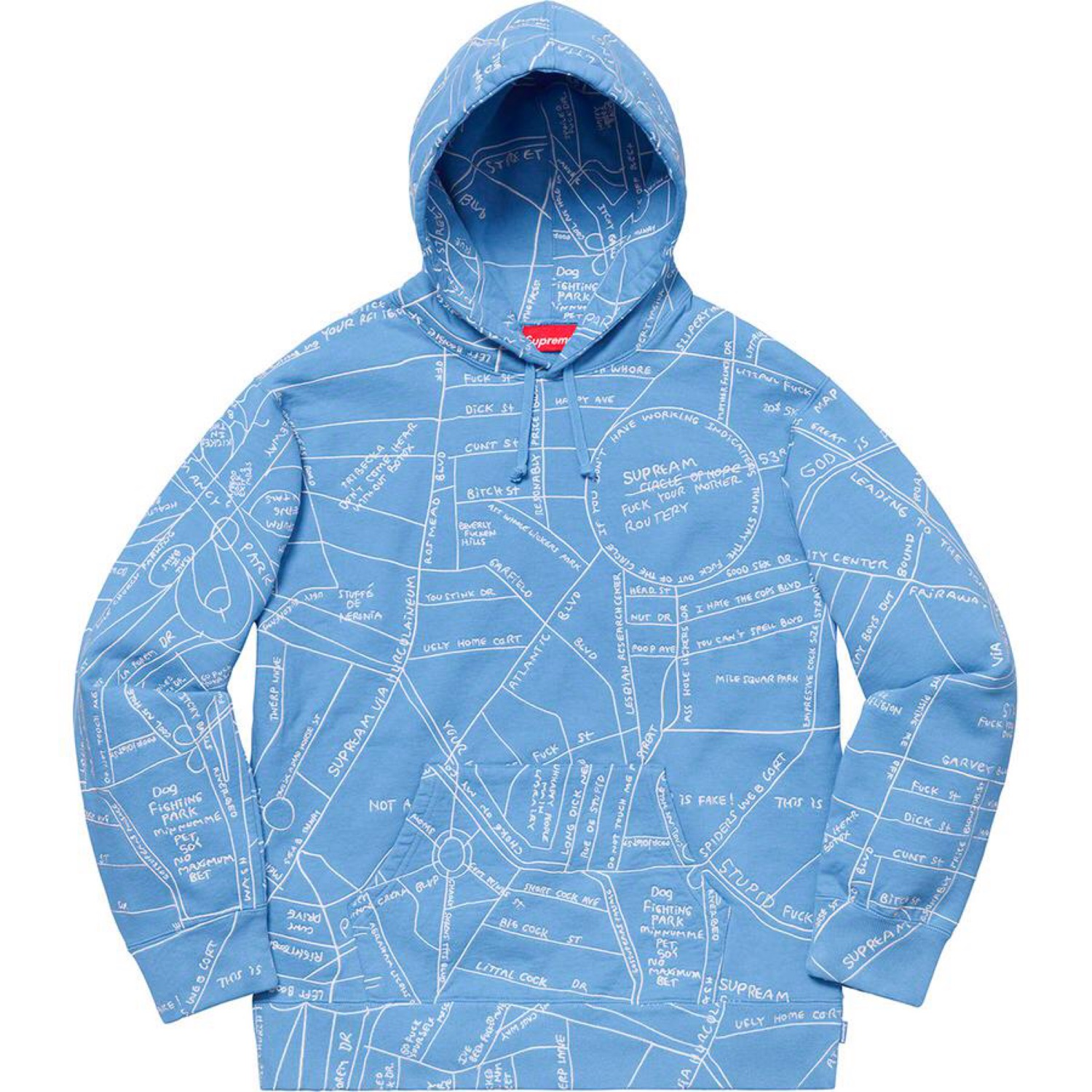 Supreme Gonz Embroidered Map Hoodie Size L