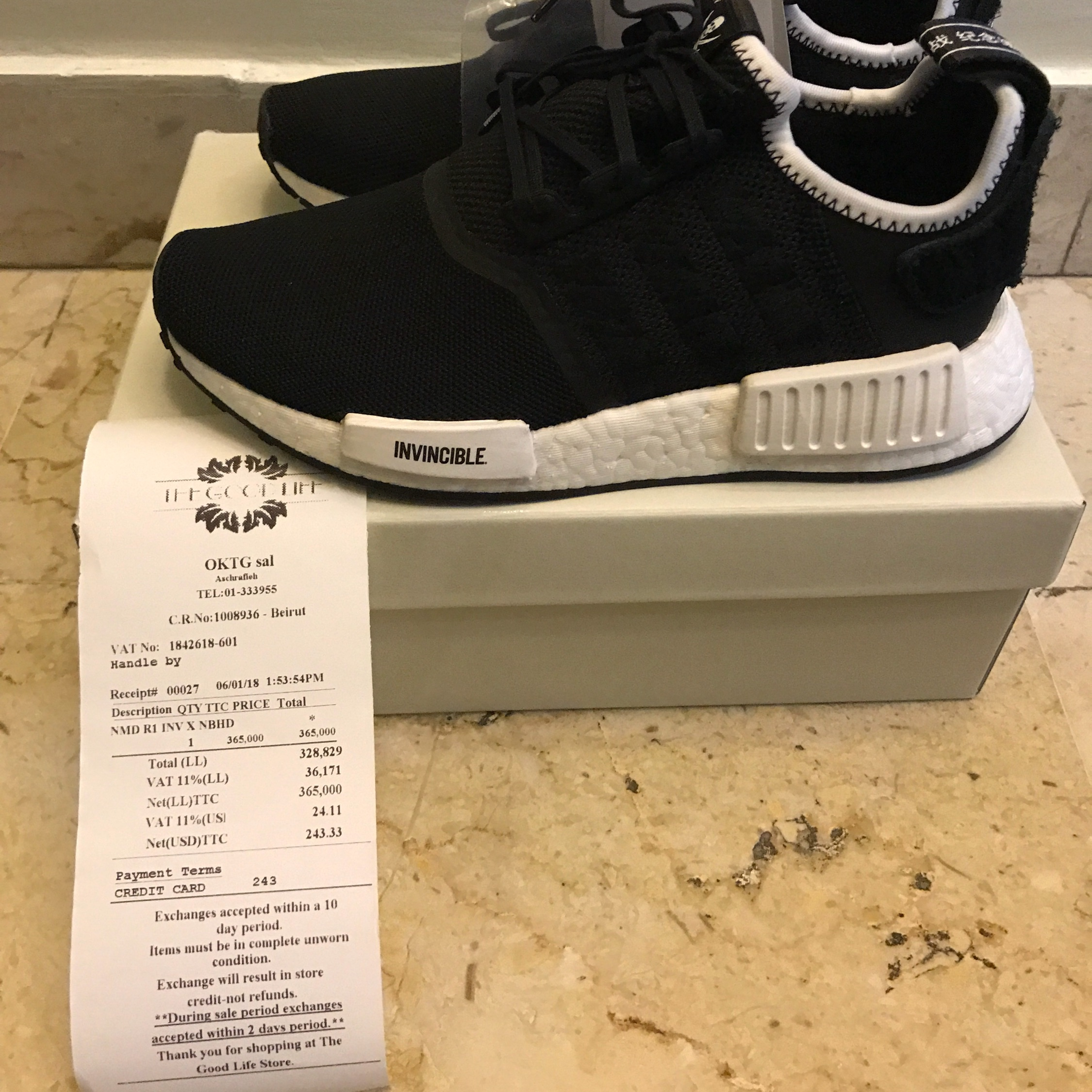 newest e0dfa 0fb1f Adidas Invincible X Neighborhood Nmd R1 Size 5 Us