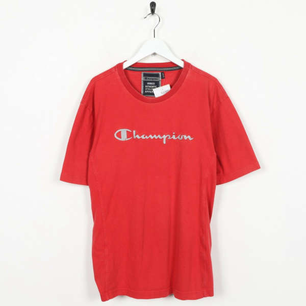 Vintage CHAMPION Spell Out T Shirt Red | XL