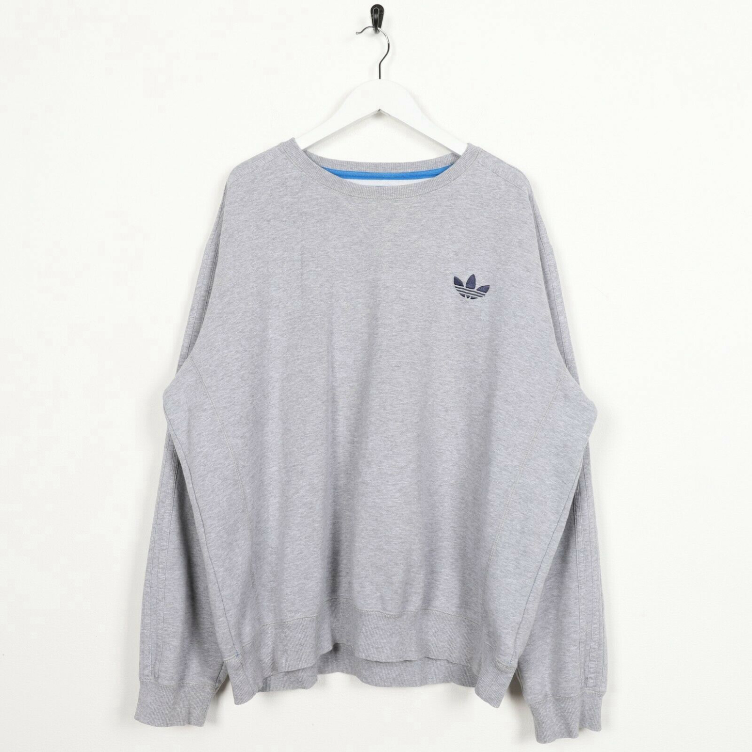 Unisex Vintage ADIDAS ORIGINALS Small Logo Sweatshirt Jumper Grey | XL