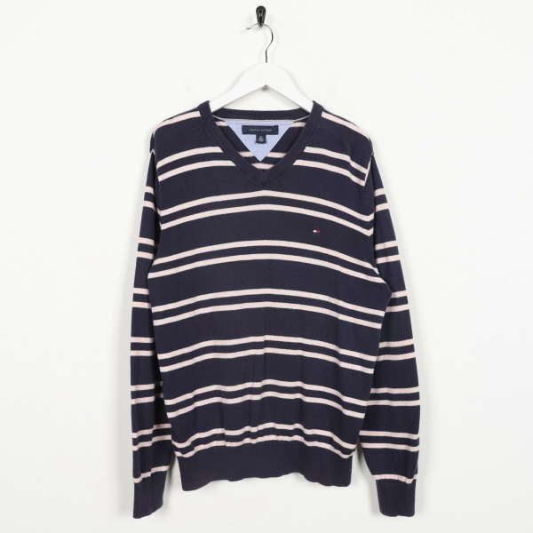 Vintage TOMMY HILFIGER Small Logo Striped Knitted Sweatshirt Jumper | Small S