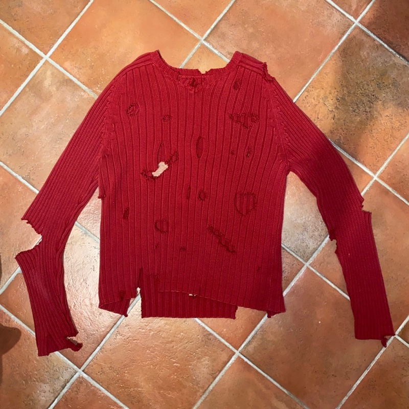 Vintage Distressed Red Sweater