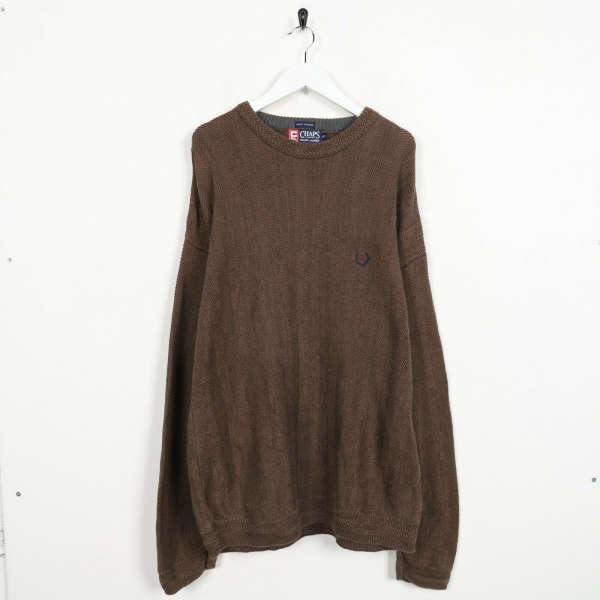Vintage CHAPS RALPH LAUREN Small Logo Knitted Sweatshirt Jumper Brown | Large L