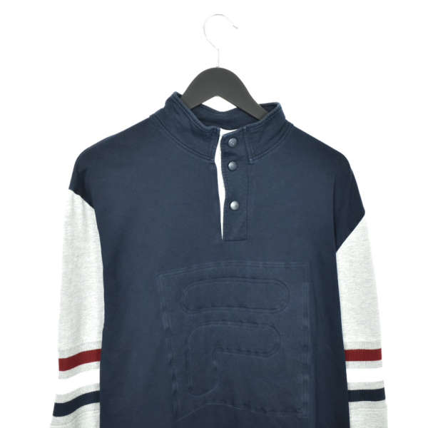 Vintage Fila quarter zip button up sweater jumper sweatshirt pullover long sleeve tracksuit trackie jacket in dark blue and grey