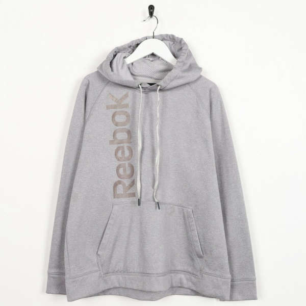 Vintage REEBOK Front Spell Out Logo Polyester Hoodie Grey | Medium M