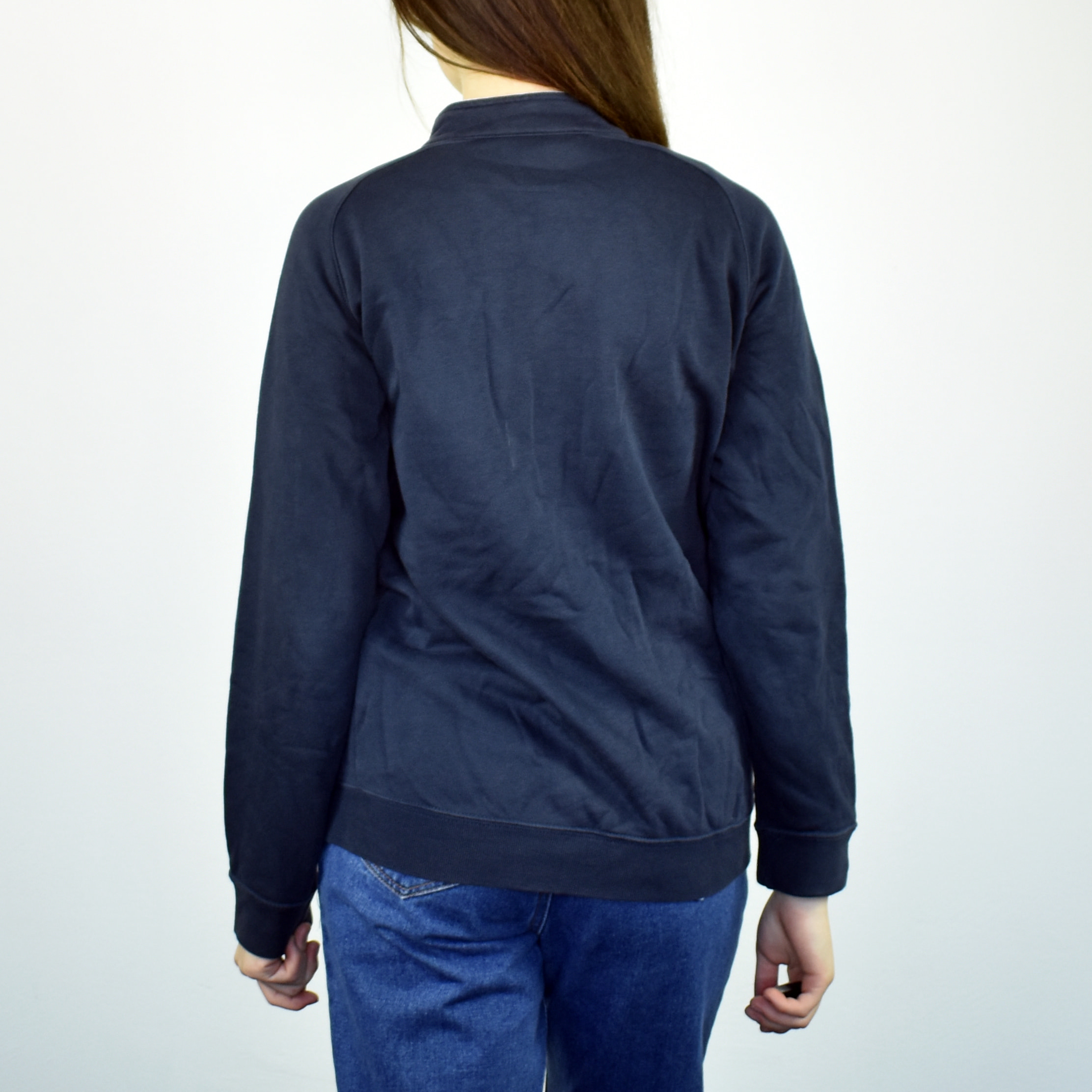 Unisex Vintage Champion zip up sweatshirt pullover in navy blue size S