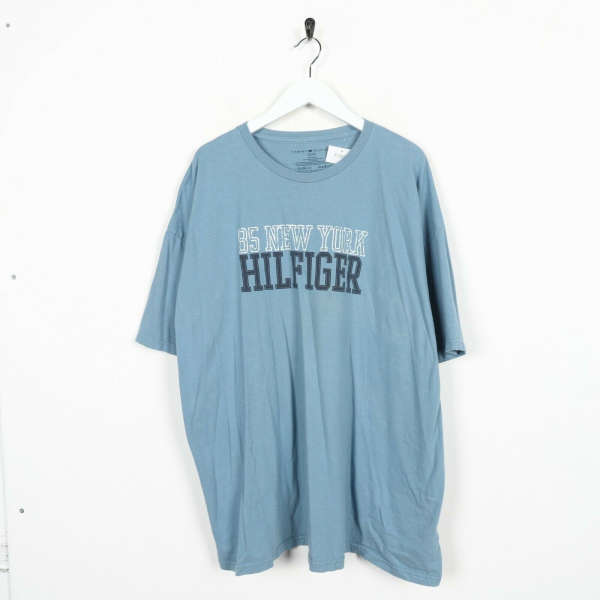 Vintage TOMMY HILFIGER Big Spell Out Logo T Shirt Tee Blue | XL