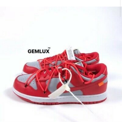 Nike X Off-White Dunk Low Red Silver Sneakers