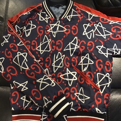 Gucci Ghost Print Satin Bomber Jacket