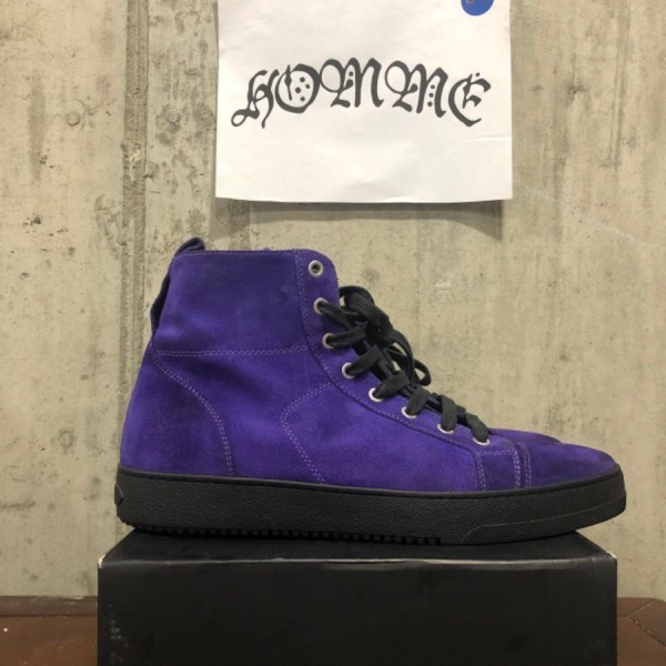 Off White X Barney's High Top Purple Suede Sneaker