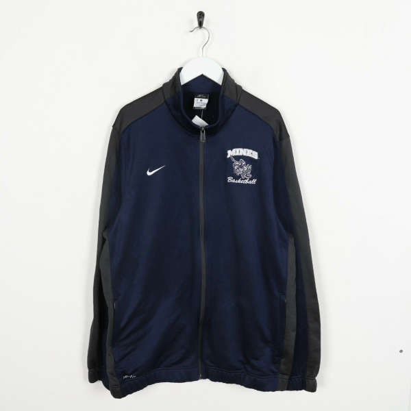 Vintage NIKE Small Logo Zip Up Tracksuit Top Navy Blue | XL