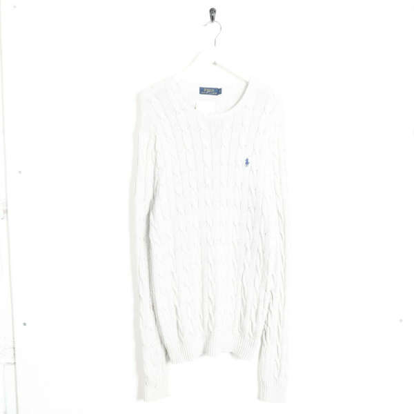 Vintage RALPH LAUREN Small Logo Cable Knit Sweatshirt Jumper White | Small S