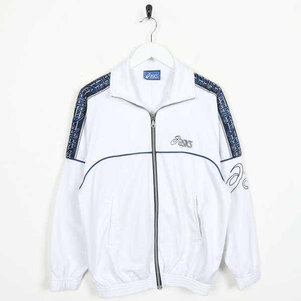 Vintage 90s ASICS Tape Arm Logo Tracksuit Top Jacket White Blue | Small S