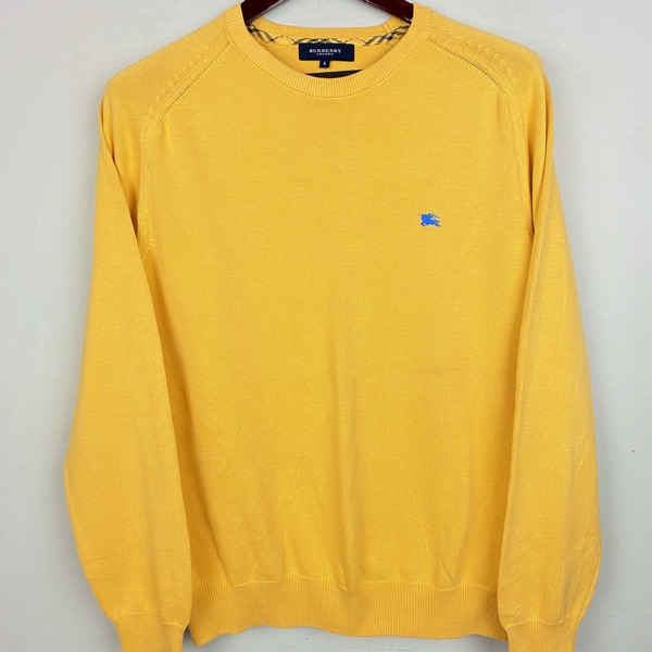 Burberry Jumper Sweater Yellow Blue Logo M/L