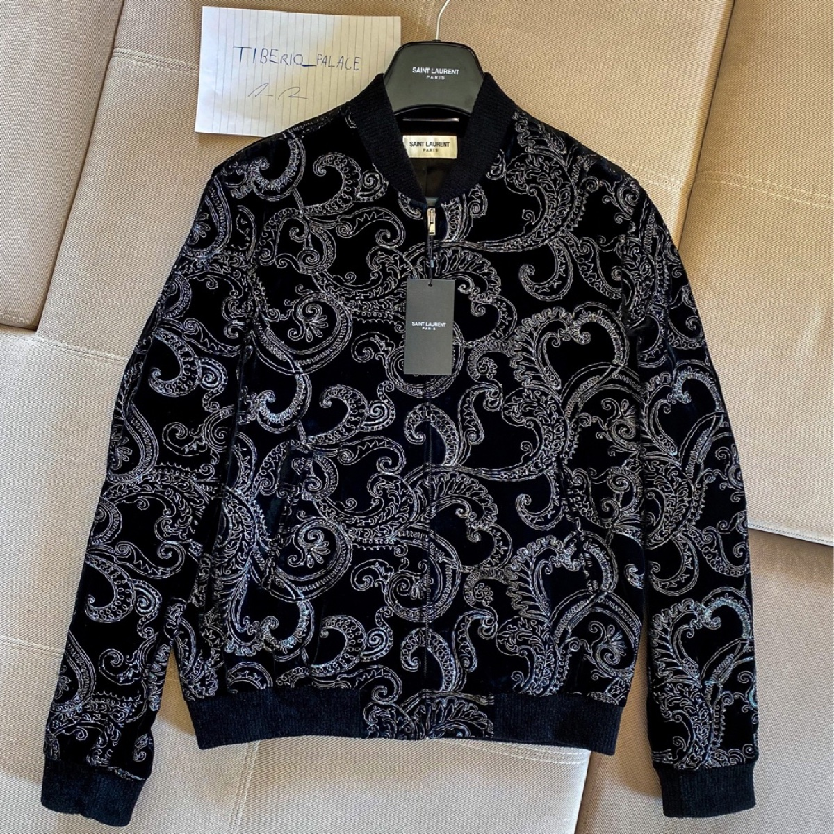 Saint Laurent Embroidered Paisley Velvet Bomber Jacket