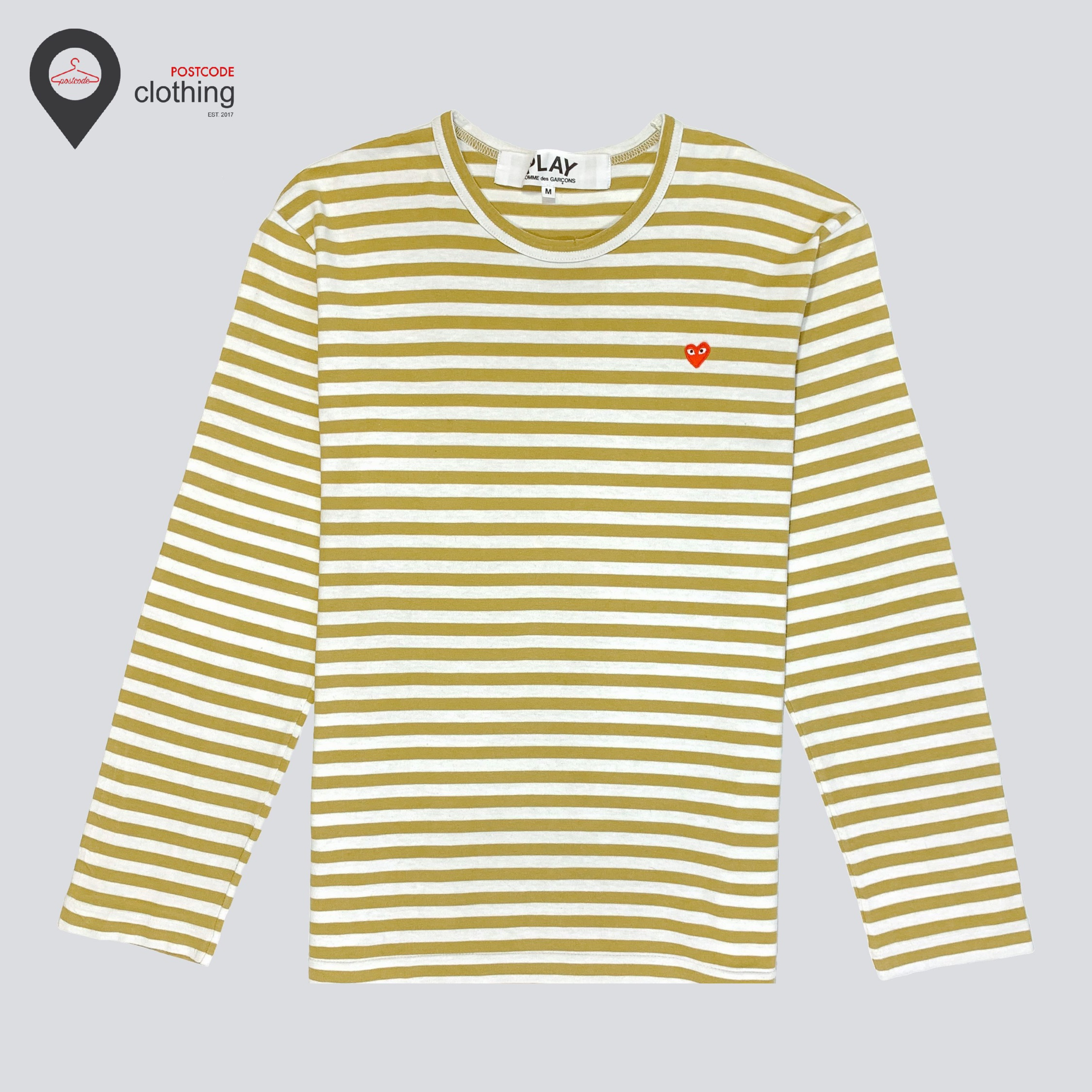 Cdg Play Little Red Heart Long Sleeve - Olive