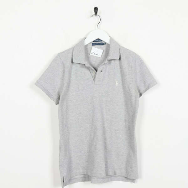 Vintage RALPH LAUREN Small Logo Polo Shirt Top Grey | Medium M