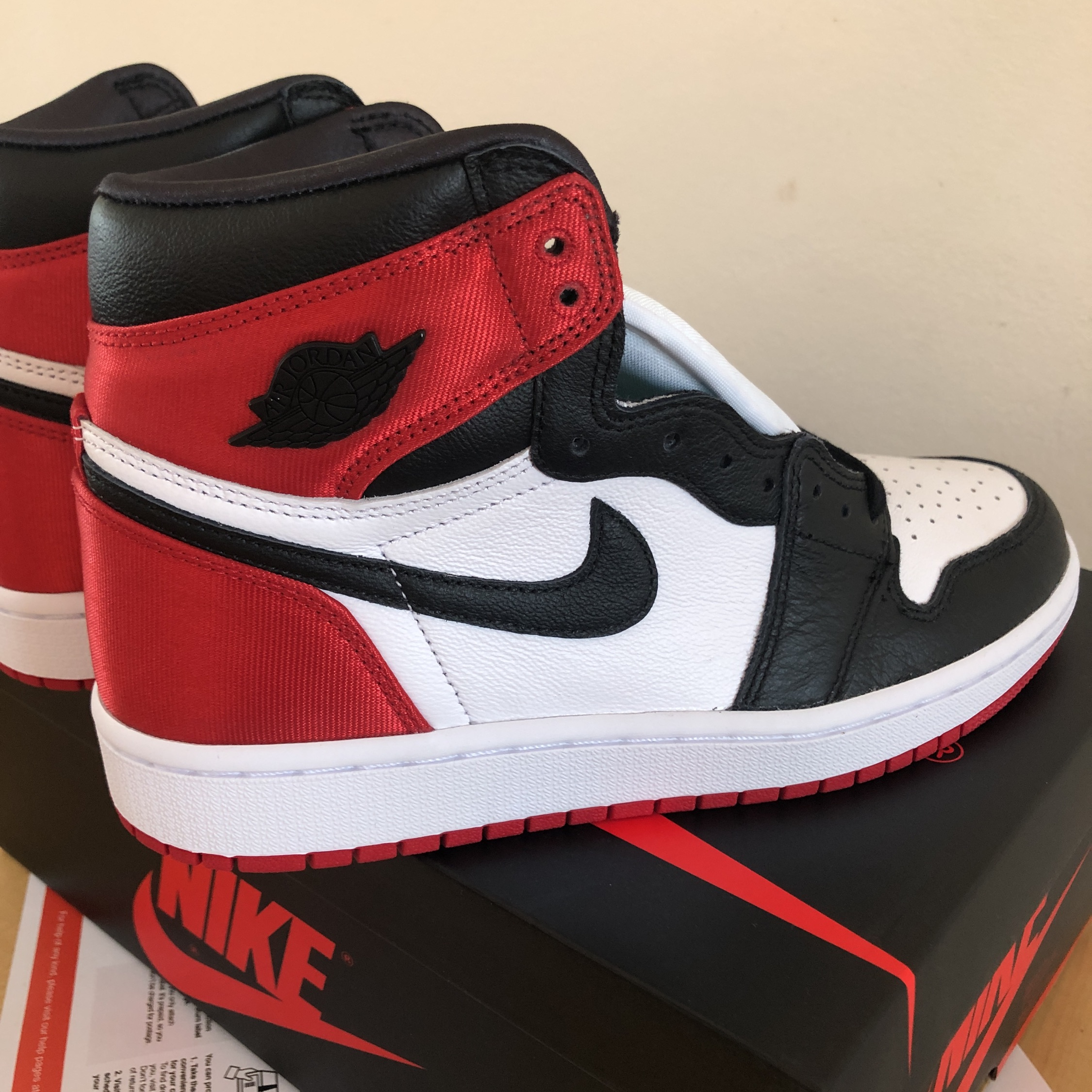 half off ebc69 02817 Air Jordan 1 Satin Black Toe