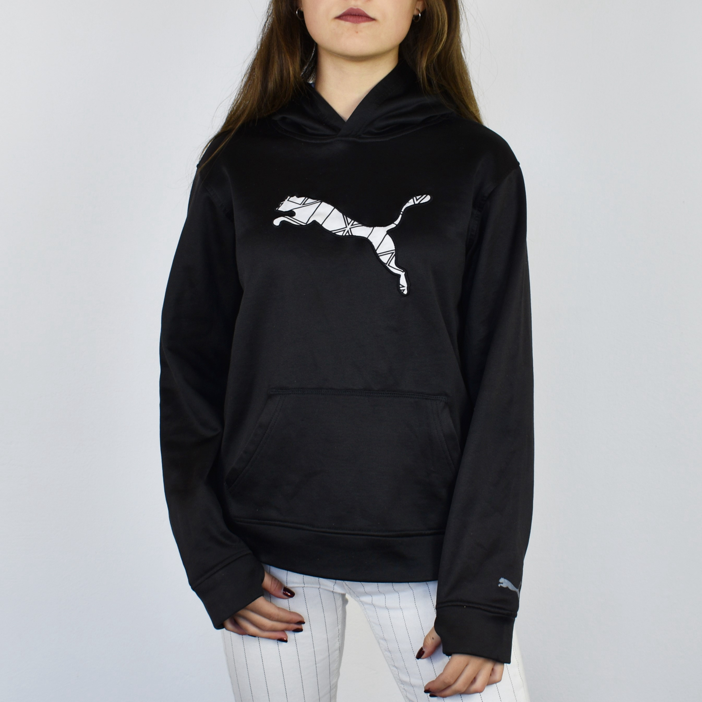408ff81a3b73b Vintage puma hoodie sweatshirt sweater jumper in black and white