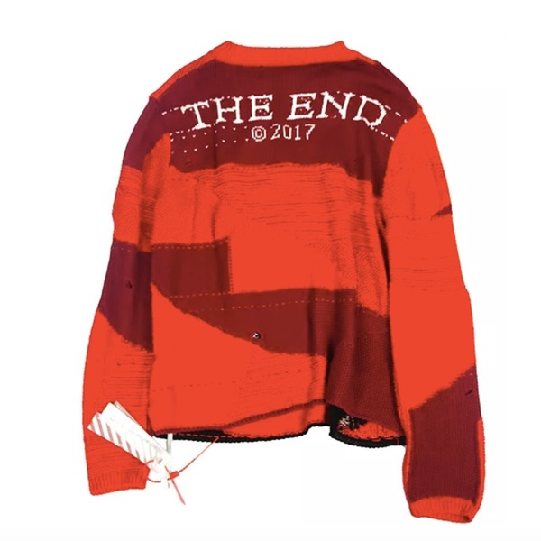 Off White Red Knitwear Print Sweater Xs