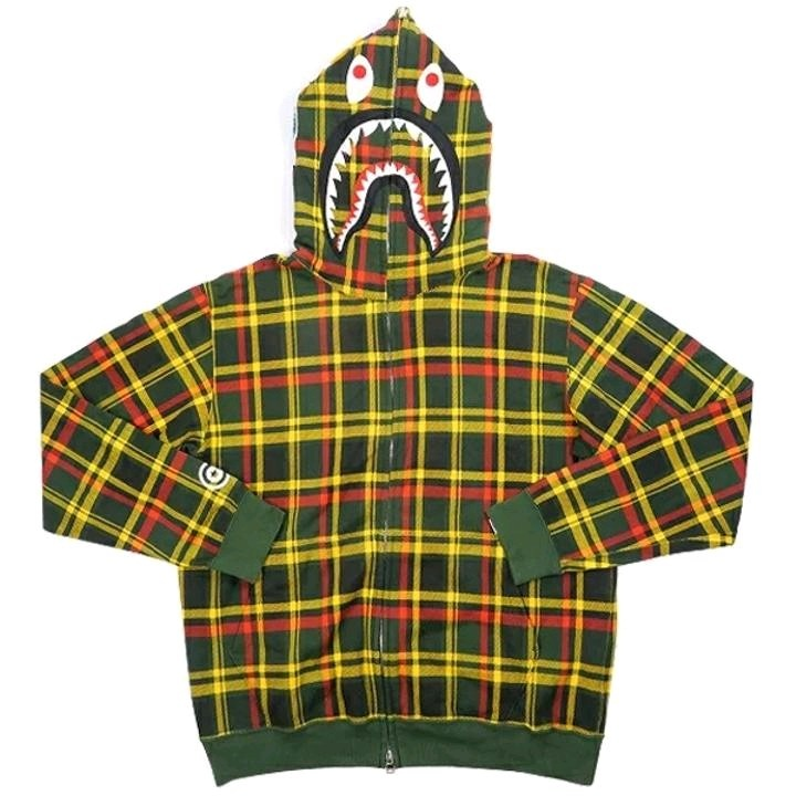 Bape Hoodie Multicolored Cotton Checkered Full Zip