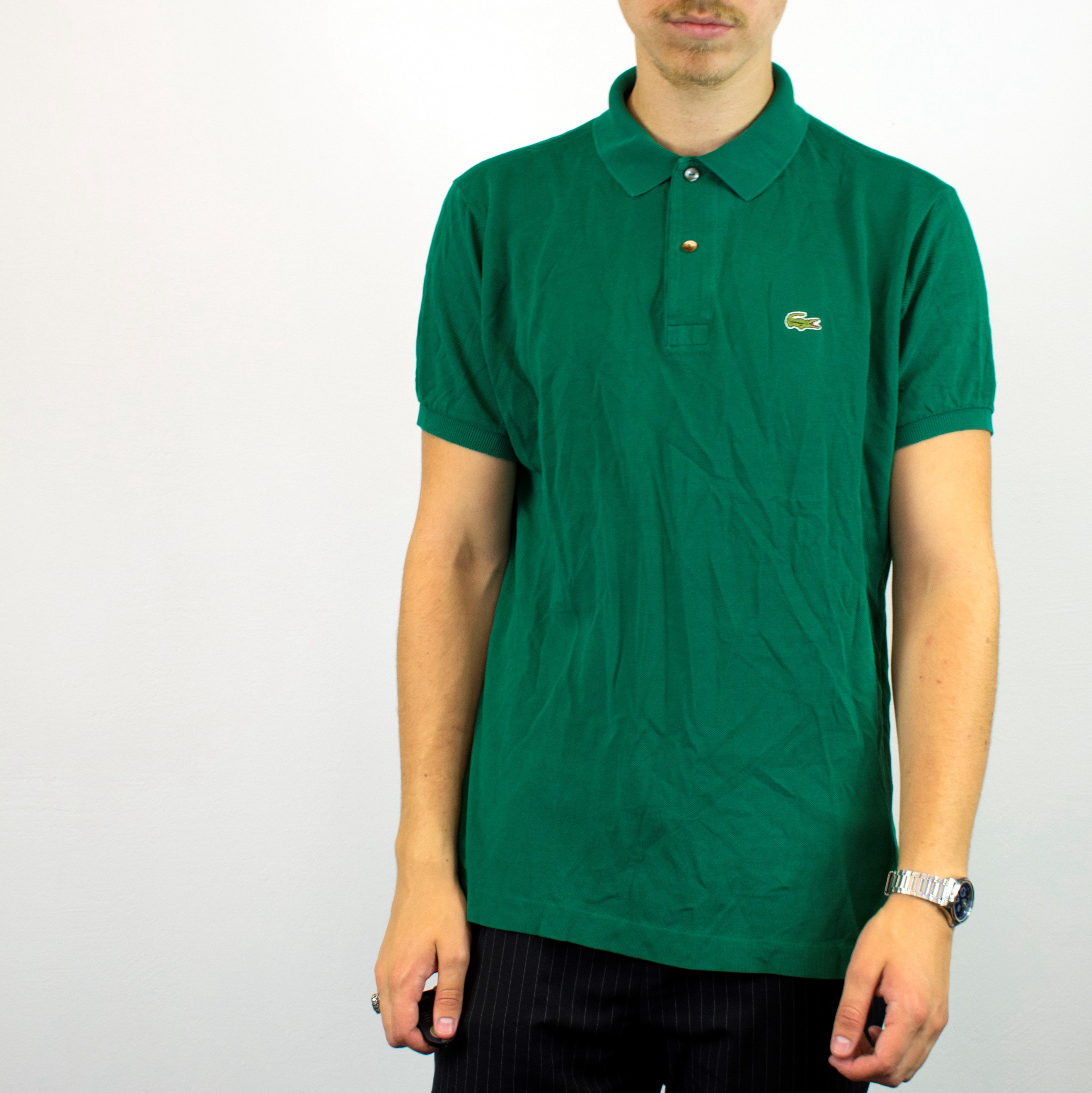 outlet store latest design cheap sale Unisex Vintage Lacoste polo shirt in green has a small logo on the front  size L