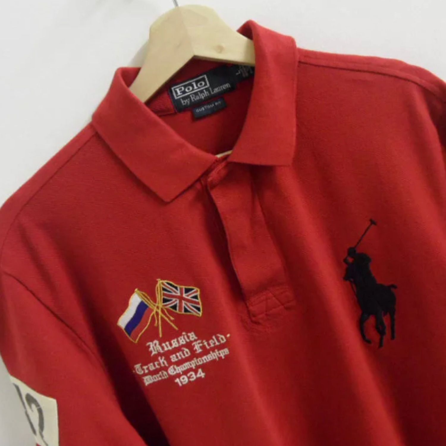 Large Ralph Lauren Russia Ps472 Custom Polo Shirt Ygbf76yv