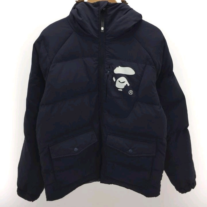 Bape Jackets Navy Down Quilted Hooded Monkey Face Print