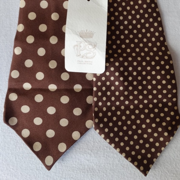 Paul Smith Brown Beige Spotted Reversible Tie