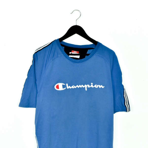 Vintage Champion t-shirt top blouse tee in cyan