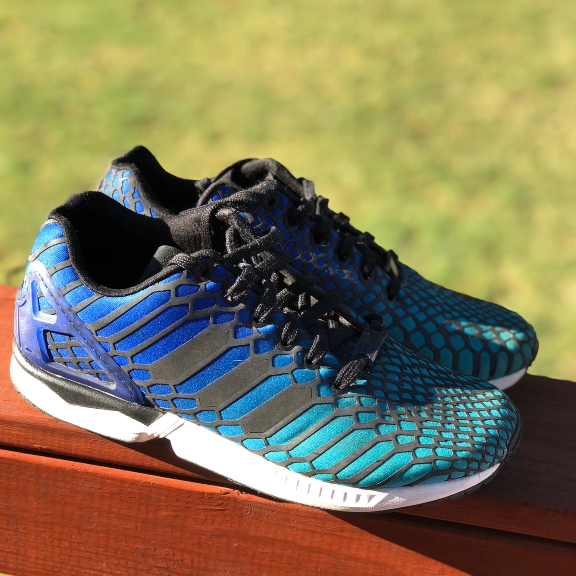 more photos f0087 656f9 Blue Adidas Zx Flux Snake Reflective