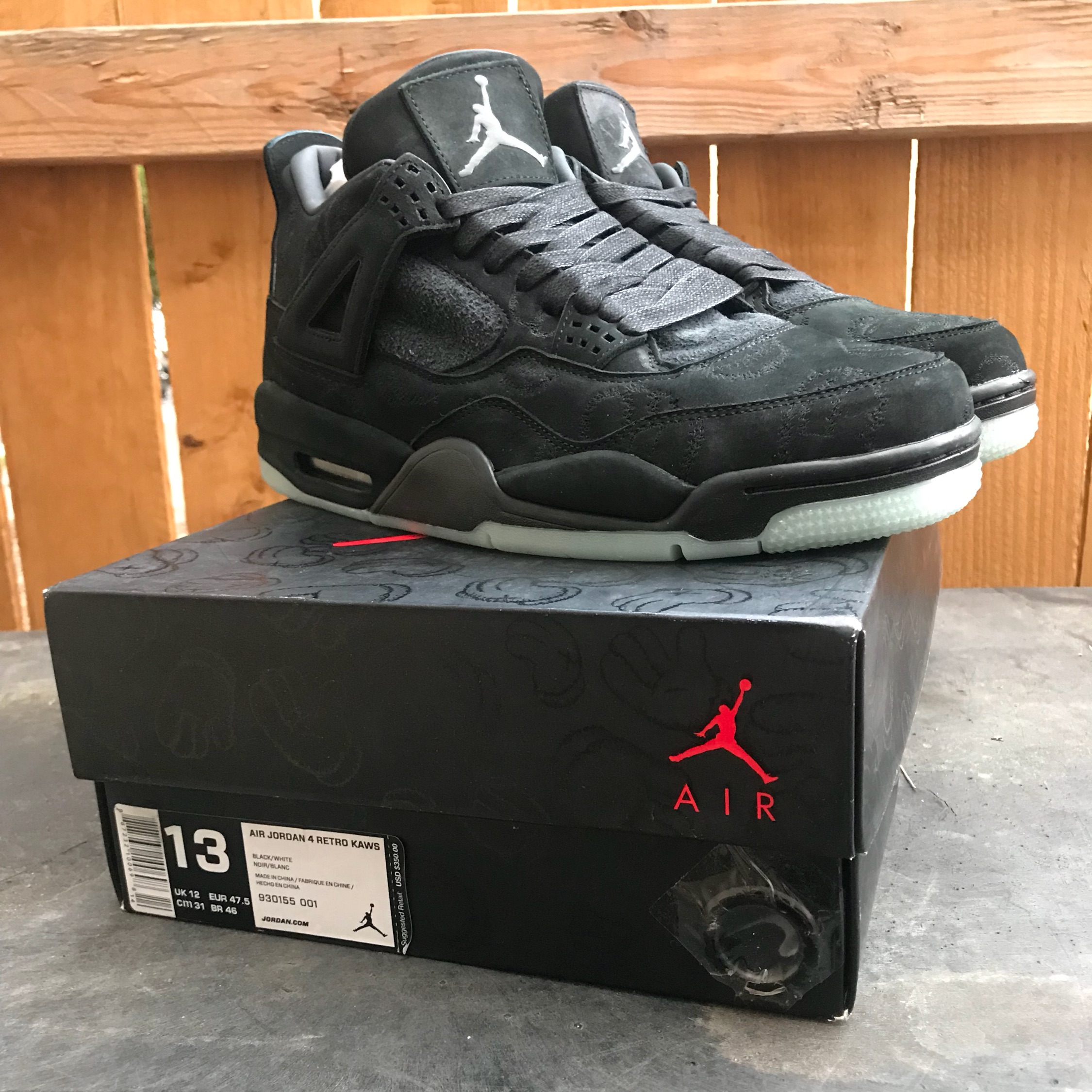 best website 19771 d44cb Kaws X Jordan Retro 4 Black *Rare*