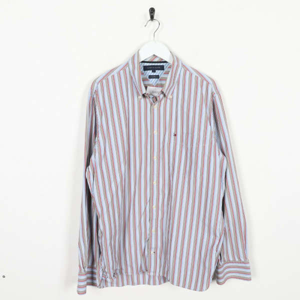 Vintage TOMMY HILFIGER Small Logo Long Sleeve Striped Shirt | Large L