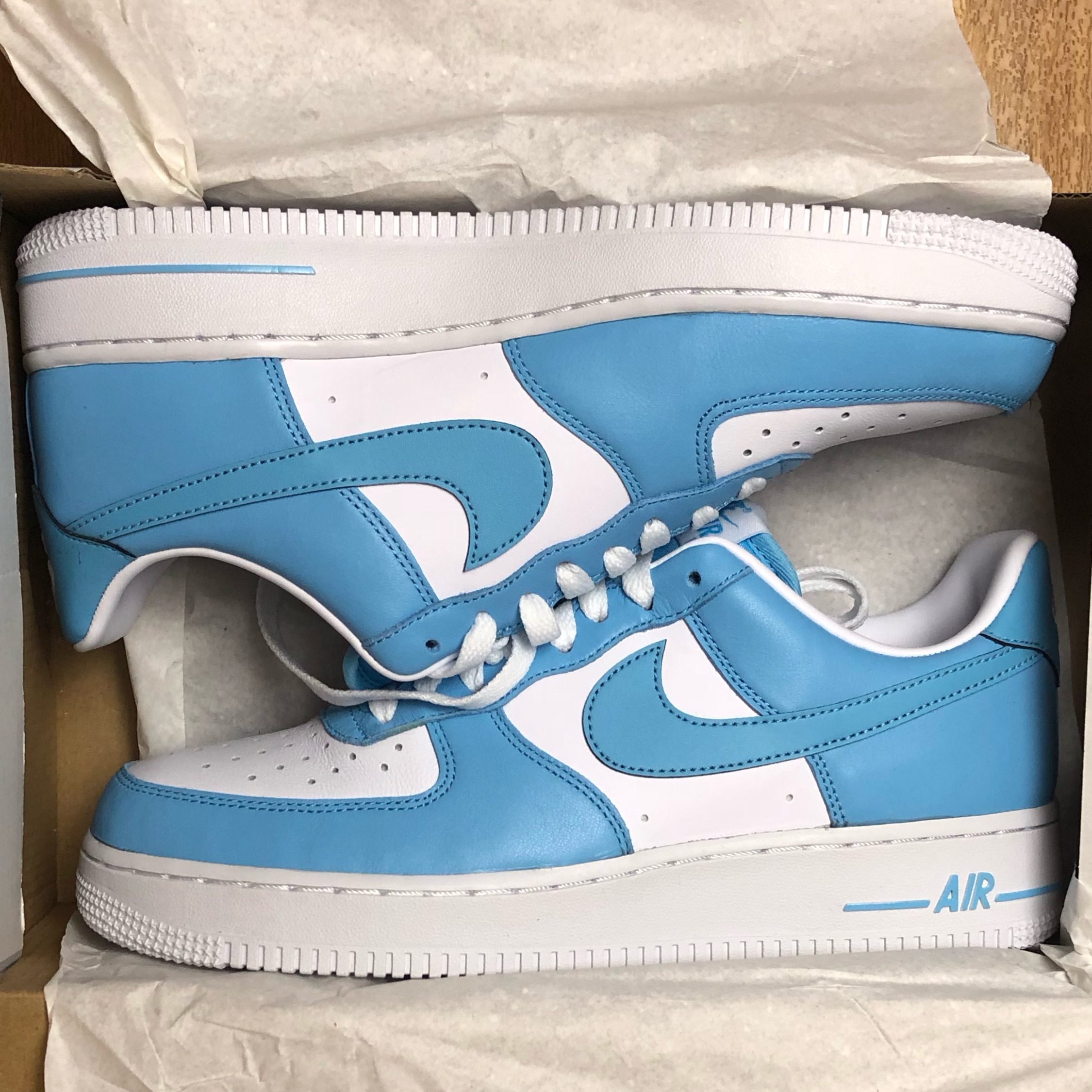 nike air force one blue and white