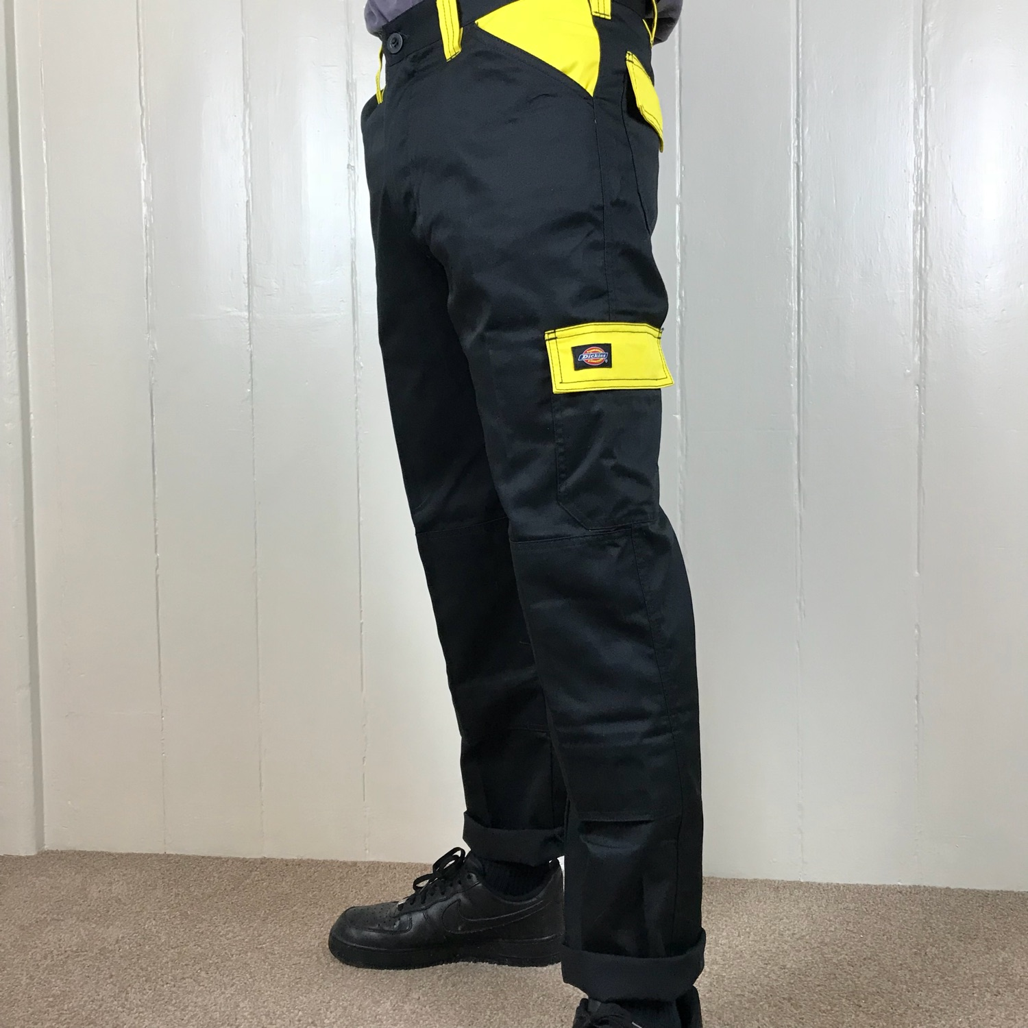e2553ceabcd Black And Yellow Dickies Cargo Trousers