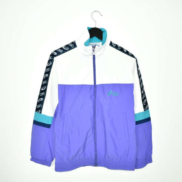 Vintage Asics zip up tracksuit track jacket trackie sweater jumper sweatshirt pullover long sleeve in white purple cyan and black