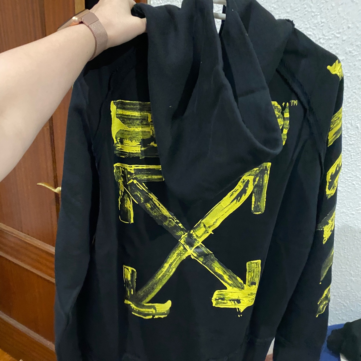 OFF-WHITE Acrylic Arrows Hoodie Black/Yellow