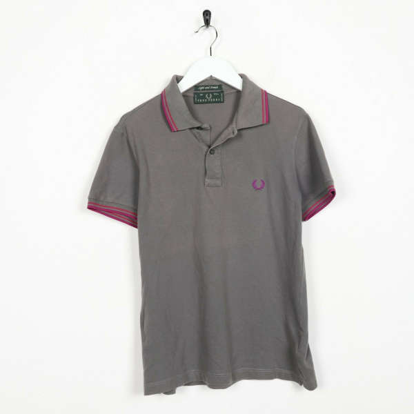 Vintage FRED PERRY Small Logo Light & Stretch Polo Shirt Top Grey | Small S