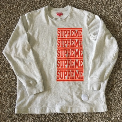 Supreme Stacked Logo Longsleeve Ss18
