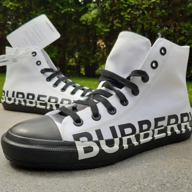 BURBERRY Larkhall Cotton Canvas High Top Sneakers