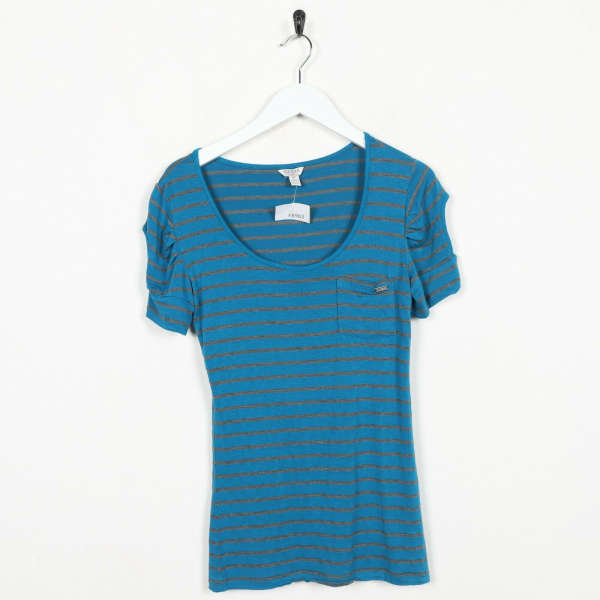 Vintage Women's GUESS JEANS Striped T Shirt Tee Blue | Small S