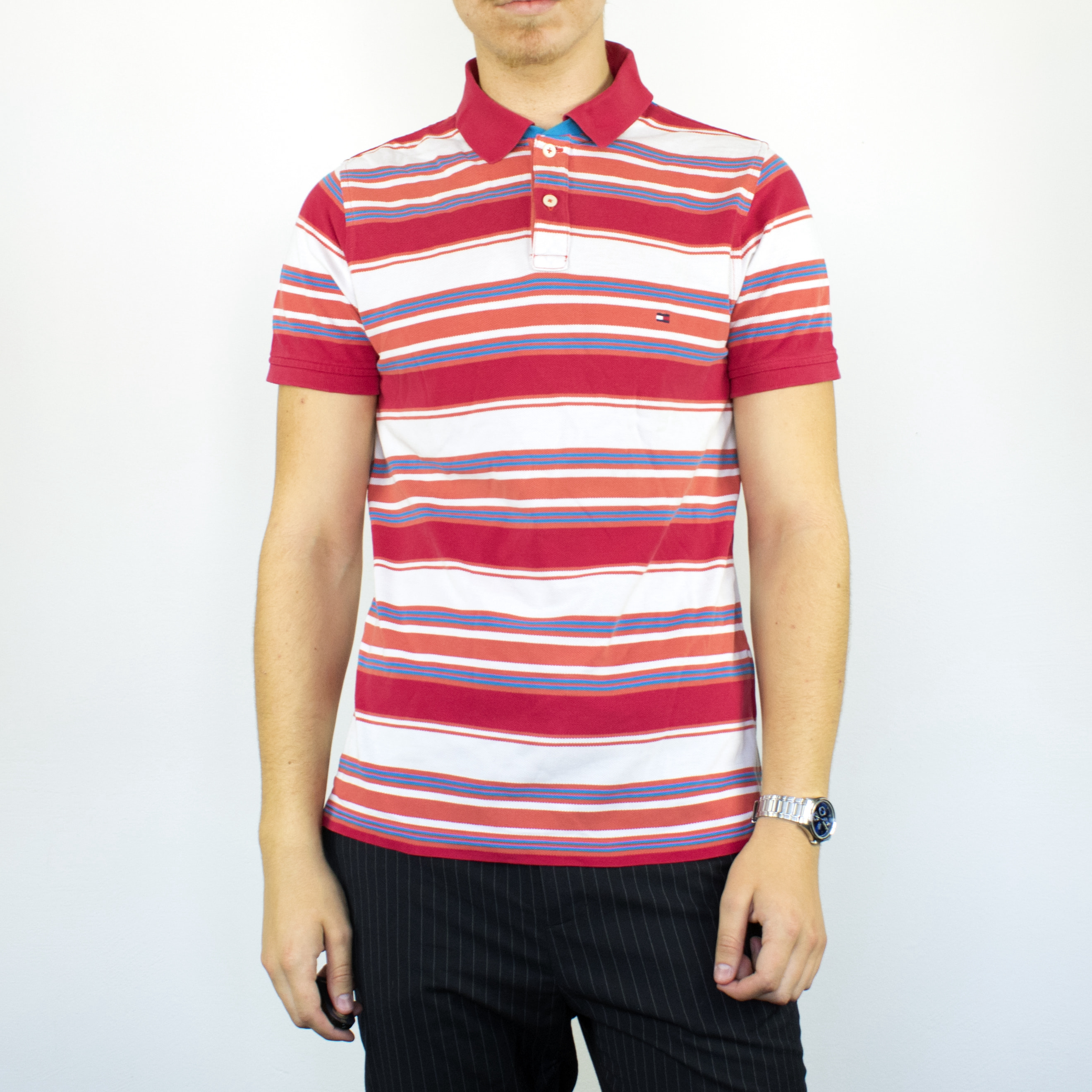 Unisex Vintage Tommy Hilfiger striped polo shirt in red and white