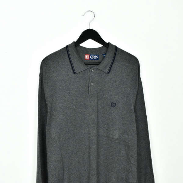Vintage CHAPS polo button up jumper longsleeve tee pullover sweatshirt in dark grey