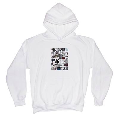 V-98   College Collage Hoodie   White
