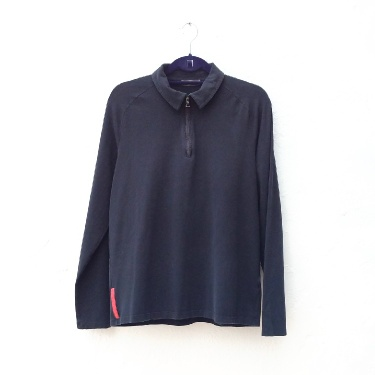 Prada Black Long Sleeve Zip Polo Top Size XL