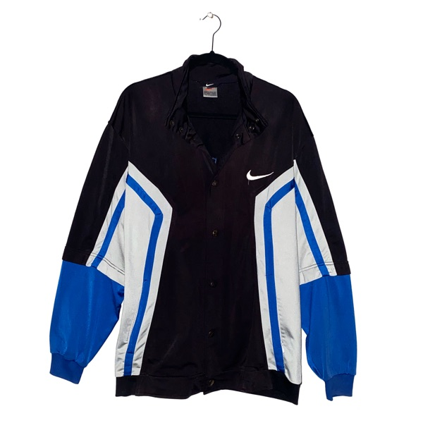 Vintage Nike Track Top Blue Black Spell Out Size M