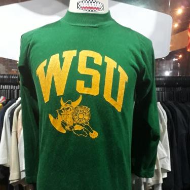 Rare vintage 80s Champion Blue bar WSU wright state university raglan 3quarter jersey tshirt - size M mens - good conditions