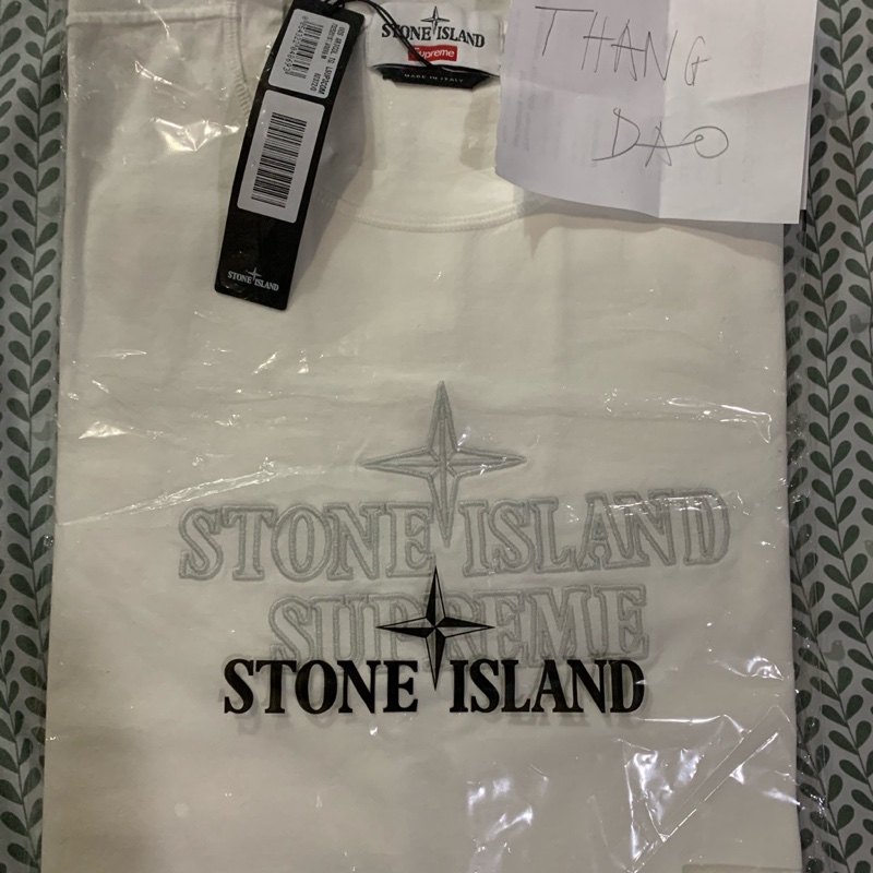 Supreme Stone Island Embroidered Logo SS Top White