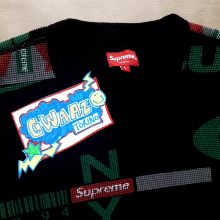 Supreme NY Waffle Thermal black size L condition 9.7/10 worn once